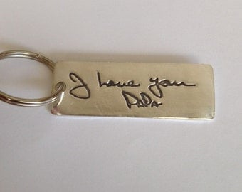Memorial  Keychain or Pendant in Your Actual Loved Ones Writing-Silver