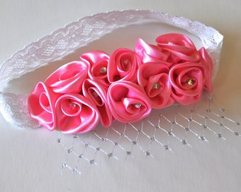 Pink headband for girls and baby. Satin roses and ruffles headband with small rhinestones for baby girls.