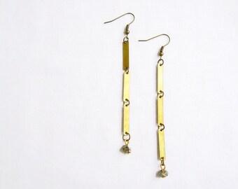 Geometric Pyrite Earrings, Minimalist Dangle Earrings, Simple Geometric Earrings, Stick Earrings