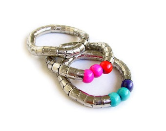 Silver Stretch Bracelet, Boho Chunky Stacking Bracelet, Snake Bracelet