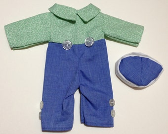 """15"""" Raggedy Andy outfit - blue pants, green floral print shirt, hat."""