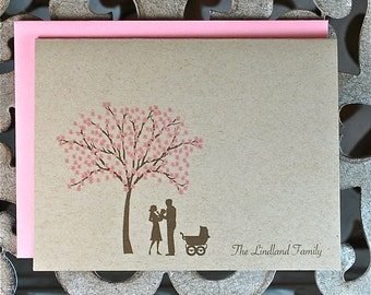 Baby Thank You Cards, Thank You Cards, Cherry Tree, Cherry Blossom Tree,  Baby Announcements, New Baby, Birth Announcements, Silhouettes