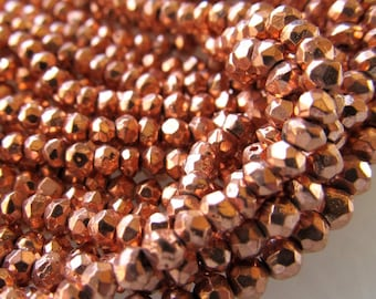 Metallic Copper Rust Coated Pyrite Beads 4 X 2mm Fools Gold Rondelles - 14 inch Strand