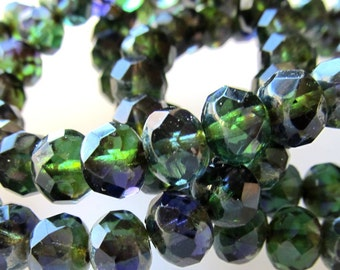 Czech Glass Beads 8 X 6mm Olive Green & Royal Blue Accents Faceted Rondelles - 8 Pieces