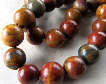 Jasper Beads 8mm Smooth Round Natural Picasso Jasper Multicolored Rounds - 8 inch Strand