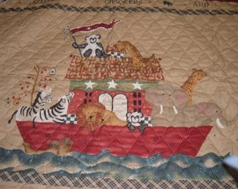Animal Crackers Noah's Ark Bear Zebra Elephant Lion Wall Hanging Fabric Art Quilted Baby Quilt