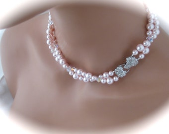 Pink Wedding jewelry pearl and crystal bridesmaid necklace bridal jewelry