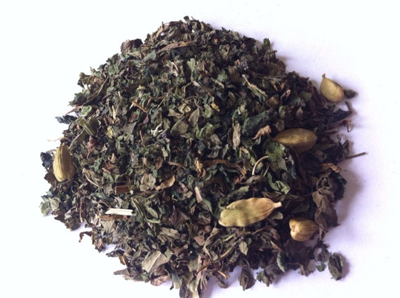 FOREST PATH TEA Sample (Organic Loose Leaf  Herbal Tea Blend) with Nettles, peppermint and Cardamon