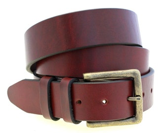 """Made In USA Men Or Women's 1 1/2"""" Burgundy Latigo Leather Belt With Double Loops And Large Antique Brass Buckle"""