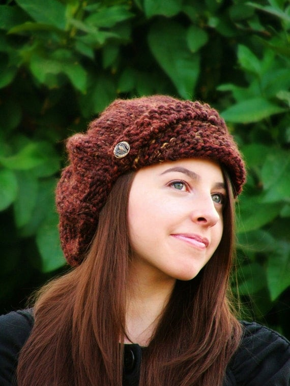Hand Knit Hat Womens Hat - Knitted Hats For Women - Womans Fashion - Newsboy - Winter Accessories Newsboy Hat Knit Newsboy