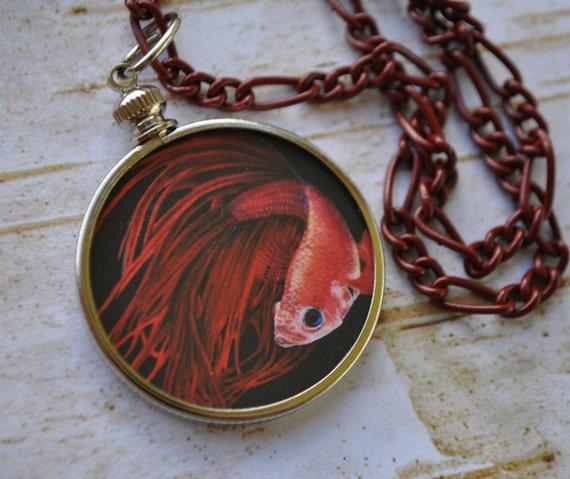 Red Fire - Betta Fish - Art Necklace