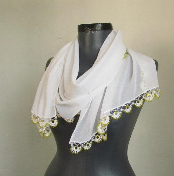 Chiffon scarf-white scarf-turkish  OYA Scarf ..crochet scarf
