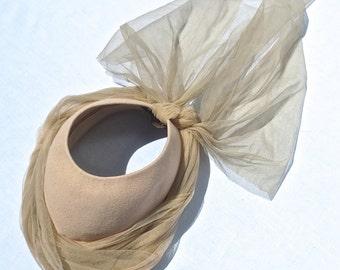 Original Vintage 1950's Jaunty Ecru Felt & Gossamer Veil Hat by PHIL STRANN of California