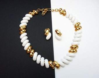 Classic White and Gold Choker Necklace Pierced Earrings c. 1980s