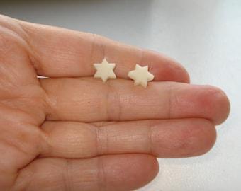 Star Earring Studs - Geometric  Earring Posts -Mini Star Earring Studs - Bone Star Earring