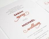 Modern Wedding Invitation, Red, White, Urban Chic Wedding Invitation - Modern Whimsy Design - Sample Set