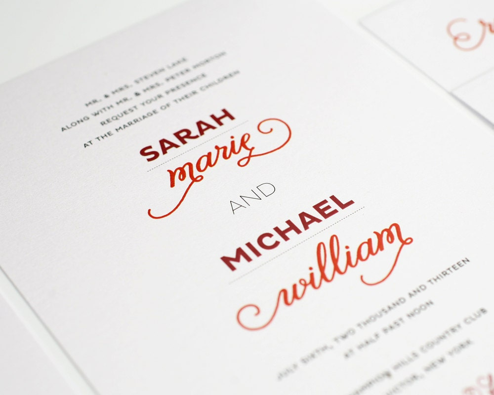 Modern Wedding Invitation: Modern Wedding Invitation Red White Urban Chic By