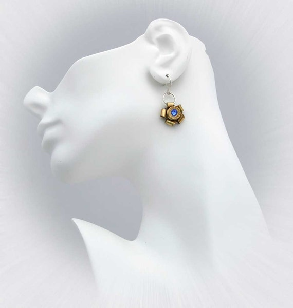 9mm Bullet Earrings, Swarovski Crystal Center, Sterling Silver Earwires
