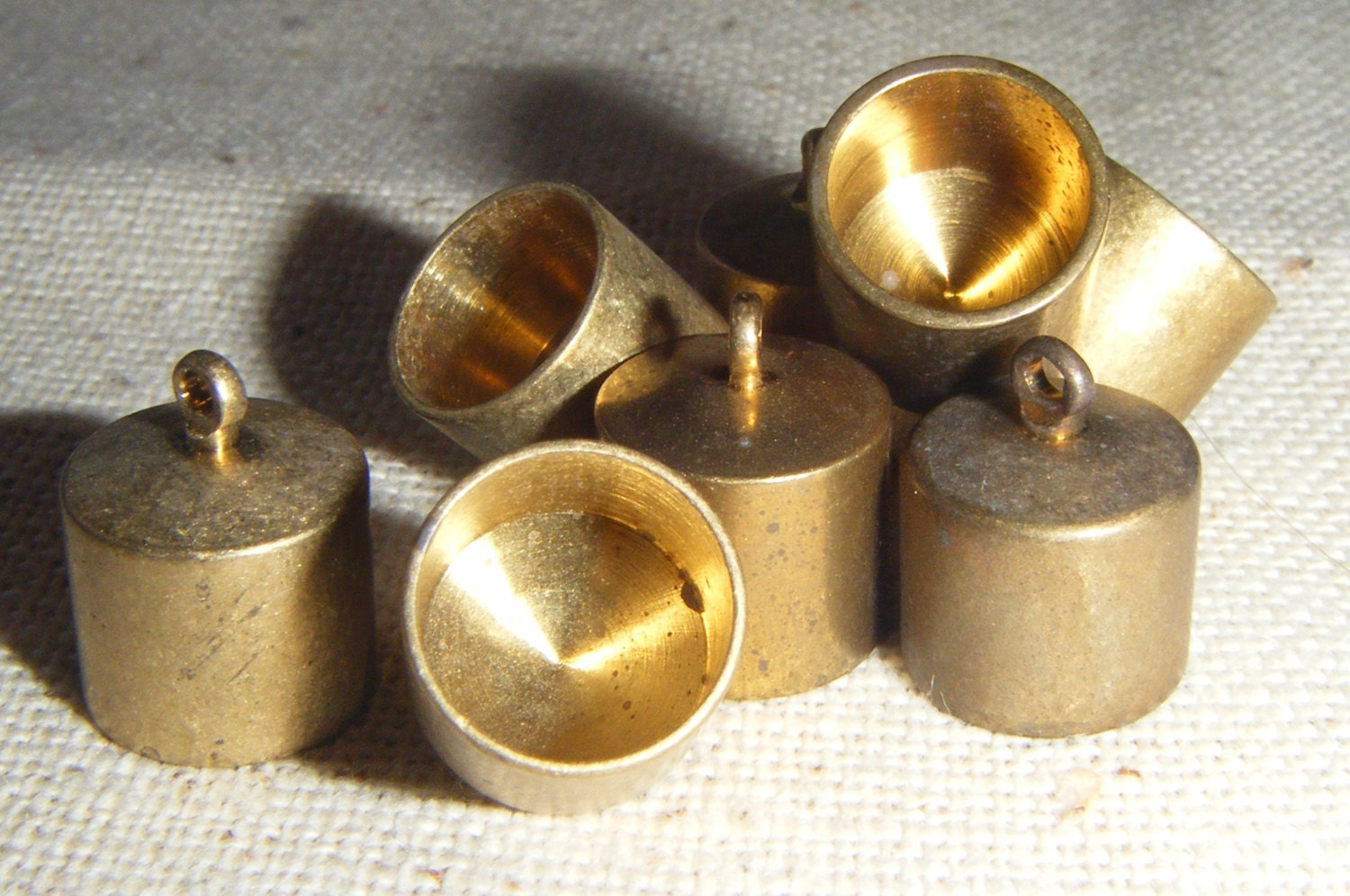 Raw solid brass medium end caps kumihimo cord rope