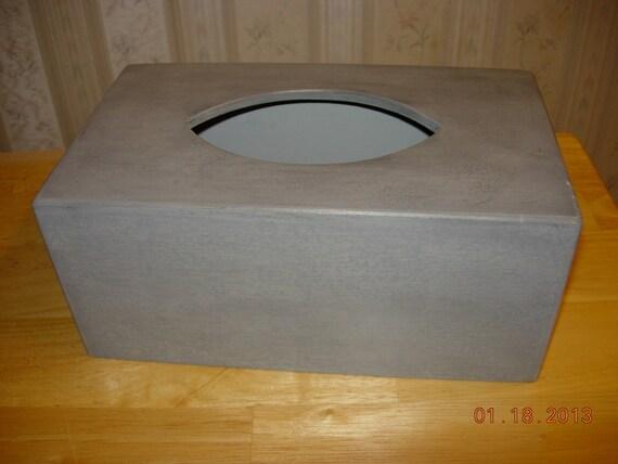 Primitive Tissue Box Cover - Home Decor - Kleenex Style - Stone Gray