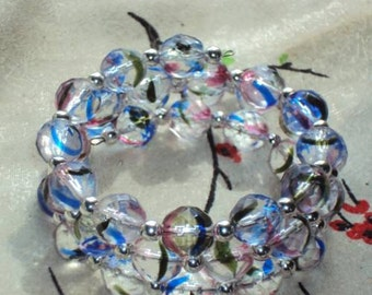BIG BUDDHA RAINBOW Beads - Memory Wire Wrap Coil Bracelet