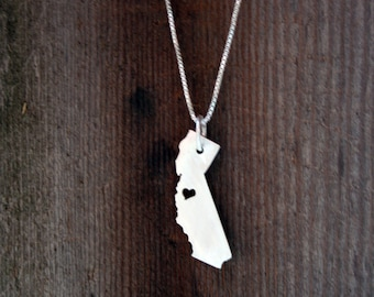 Sterling Silver Necklace and Pendant State or Country Cut Out - Made to Order