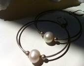 Large Hoop Earrings with Pearls, Sterling Silver Hoops and Natural Freshwater Pearls, Handmade Rustic Hoop Earrings, Made to Order,