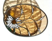 Daisy in the wind stained glass decorative art panel spring home suncatcher amber white - DesignsStainedGlass