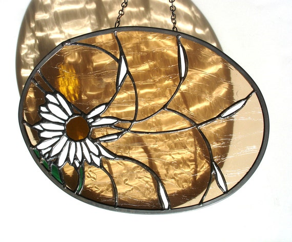 Suncatcher daisy in the wind stained glass decorative panel amber white summer window art
