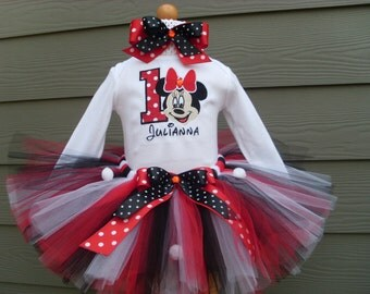 Custom Tutus...MISS MOUSE RED,disney trip, tutu set, size 3,6,9,12,18,24 months and 2T,3T,4T,5T,6T years,costume, birthday