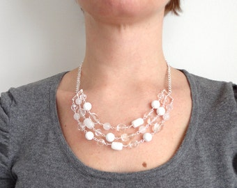 White statement necklace stone bib necklace chunky necklace ooak