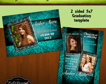 INSTANT DOWNLOAD Teal and Brown Damask  5x7 Senior Graduation Announcement Templates/PSD files