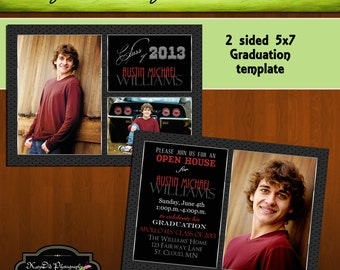 INSTANT Download Varsity Senior 5x7 Senior Graduation Announcement Templates/PSD files