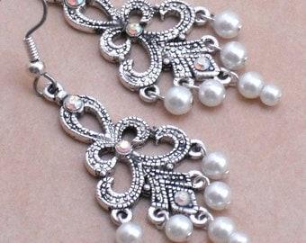 Earrings Silver Baroque Filigree White Pearl Chandeliers, Pearl and Crystal Bridal Wedding Earrings, Faux Marcasite Pearl Dangle Earrings
