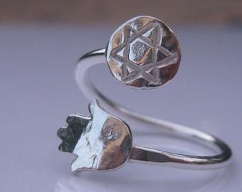 Hamsa Ring Star of David Ring Sterling Silver ring.Magen David Ring. wrap ring.Adjustabl.evil eye.