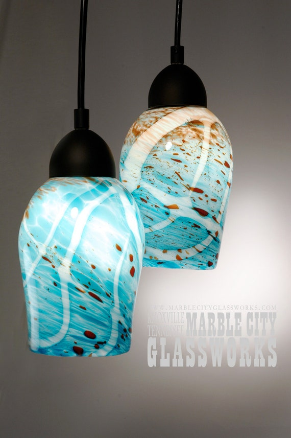 items similar to 2 turquoise speckled pendant lights