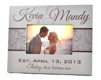Personalized Picture Frame for 4x6 Photo Wedding or Anniversary Gift UPKM-01