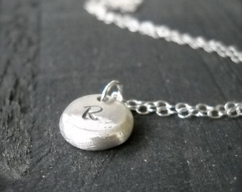 Personalized Sterling Silver Pebble Necklace