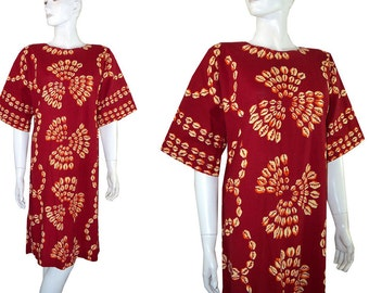 Ethnic Puka Shell Print Cotton Dress Medium Hippie Tunic