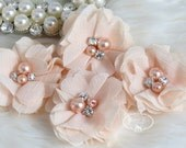 4 pcs Aubrey BABY PEACH - Soft Chiffon with pearls and rhinestones Mesh Layered Small Fabric Flowers, Hair accessories