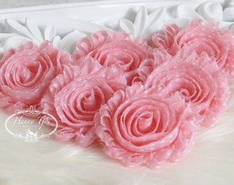 Set of 6 Shabby Frayed Vintage look Chiffon Rosette Flowers - Light Pink with White Polka Dots