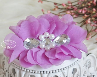 New: Reign Collection 2 pcs Silk Fabric Flowers with Rhinestones - VIOLET floral embellishments Layered Bouquet fabric flowers
