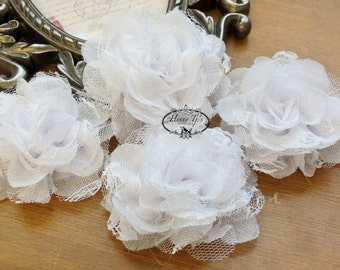 NEW: 4 pieces SMALL Shabby Chic Frayed Chiffon Mesh and Lace Rose Fabric Flower - WHITE