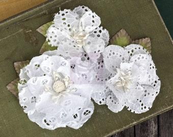 NEW: Prima Tiara - White 567163 Eyelet cotton fabric flowers with Stamen on center.