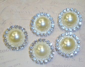 5 pcs - 20mm Silver Metal CREAM Pearl (no.10) Crystal Rhinestone Buttons Embellishments w/ shank - wedding / hair / Flower Center