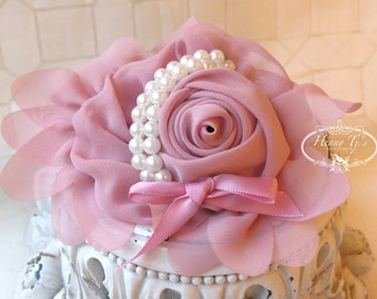1 pc DUSTY Rose Pink Chiffon Flower With Pearl for headbands corsage shoes accessory LIMITED QUANTITIES