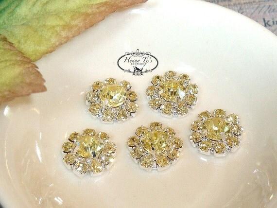 "10 pieces - 11mm Silver Metal Mini ""YELLOW"" Rhinestone Buttons - wedding / hair / dress / garment accessories Flower Center"