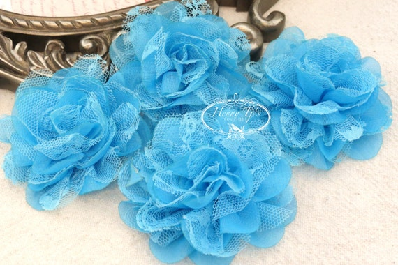 NEW: 4 pieces SMALL Shabby Chic Frayed Chiffon Mesh and Lace Rose Fabric Flower - TURQUOISE