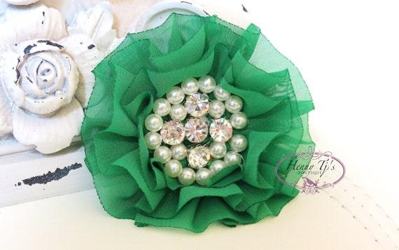 New: Reilly Collection, 2 pcs EMERALD GREEN Soft Chiffon Ruffled  Rhinestones Pearls Fabric Flowers - Layered Bouquet Xmas fabric flowers