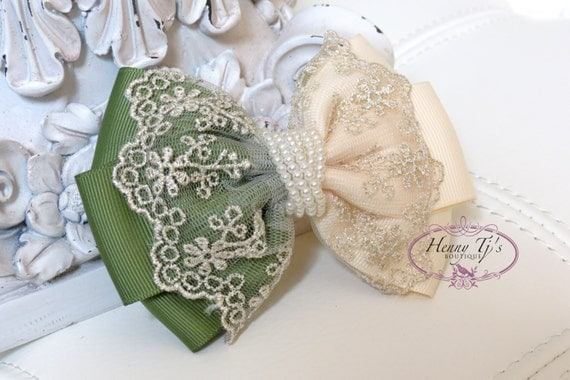 NEW: Ella Grace Collection - Two Tones Dark Olive Green / Ivory Ribbon and Lace Hair Bow knot Applique. Hair accessories. Fabric pearl bow.